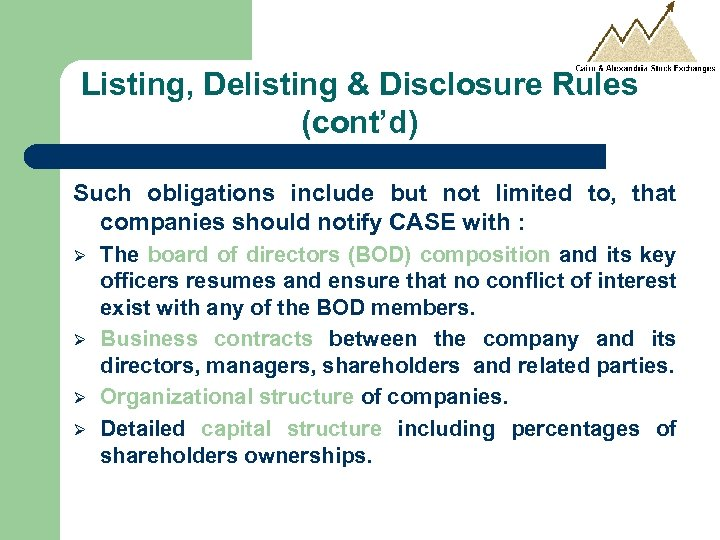 Listing, Delisting & Disclosure Rules (cont'd) Such obligations include but not limited to, that
