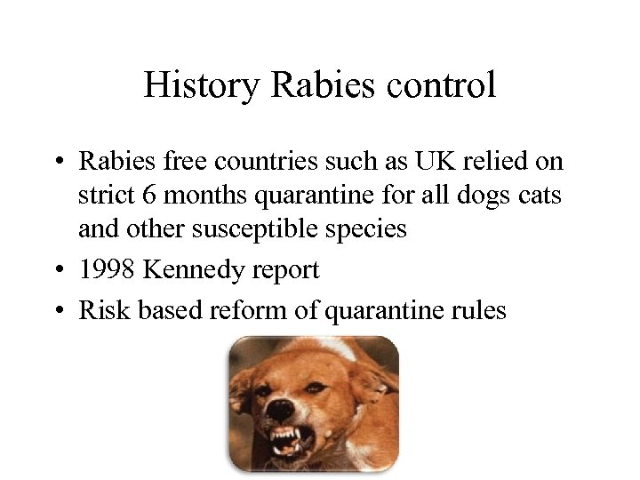 History Rabies control • Rabies free countries such as UK relied on strict 6