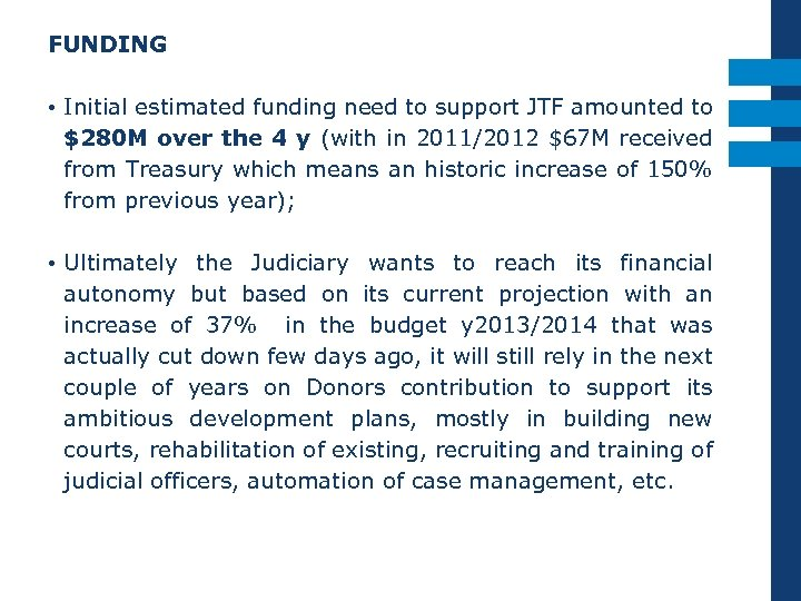 FUNDING • Initial estimated funding need to support JTF amounted to $280 M over