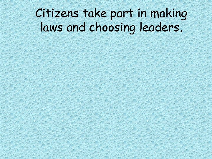 Citizens take part in making laws and choosing leaders.