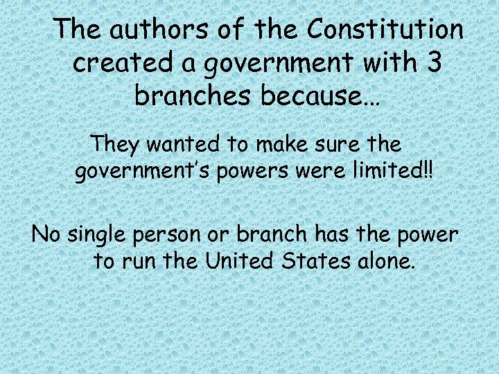 The authors of the Constitution created a government with 3 branches because… They wanted