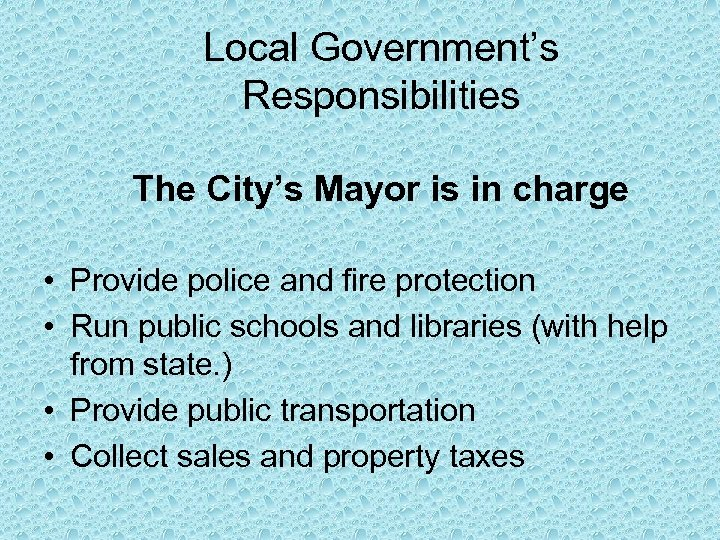 Local Government's Responsibilities The City's Mayor is in charge • Provide police and fire