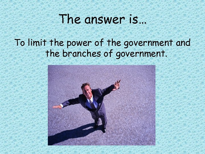 The answer is… To limit the power of the government and the branches of