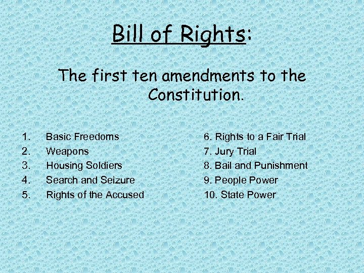Bill of Rights: The first ten amendments to the Constitution. 1. 2. 3. 4.