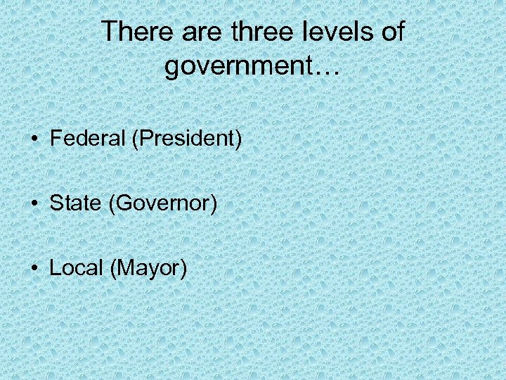 There are three levels of government… • Federal (President) • State (Governor) • Local