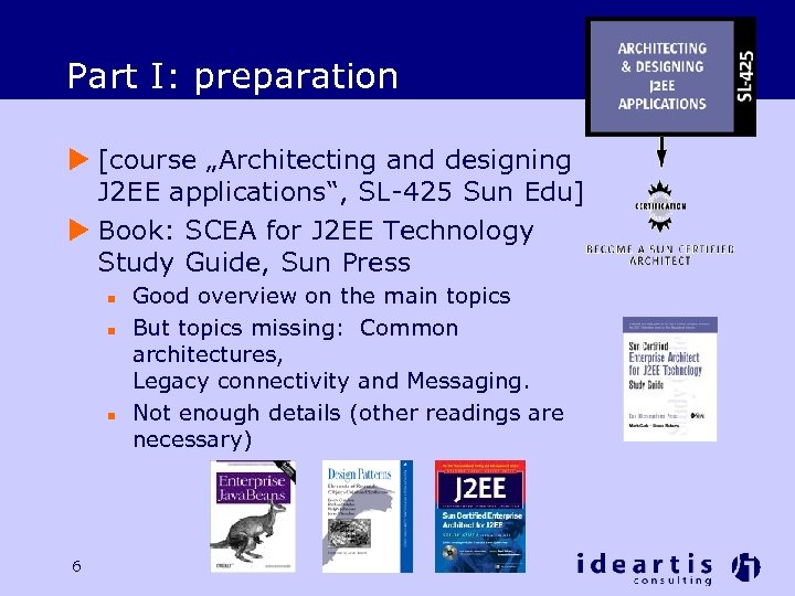 "Part I: preparation u [course ""Architecting and designing J 2 EE applications"", SL-425 Sun"