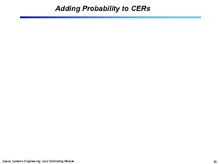 Adding Probability to CERs Space Systems Engineering: Cost Estimating Module 30