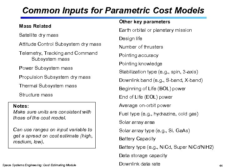 Common Inputs for Parametric Cost Models Mass Related Satellite dry mass Attitude Control Subsystem