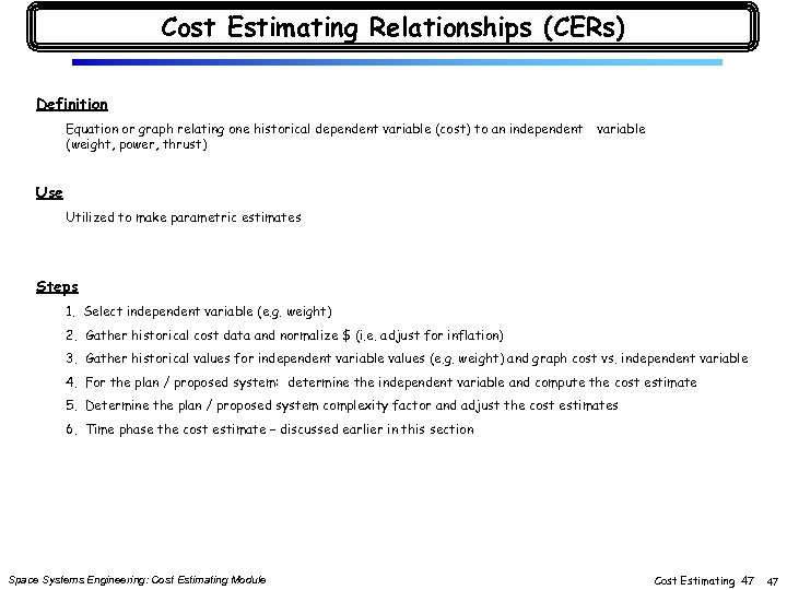 Cost Estimating Relationships (CERs) Definition Equation or graph relating one historical dependent variable (cost)