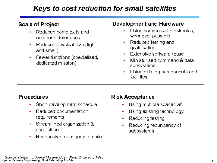 Keys to cost reduction for small satellites Scale of Project • • • Reduced