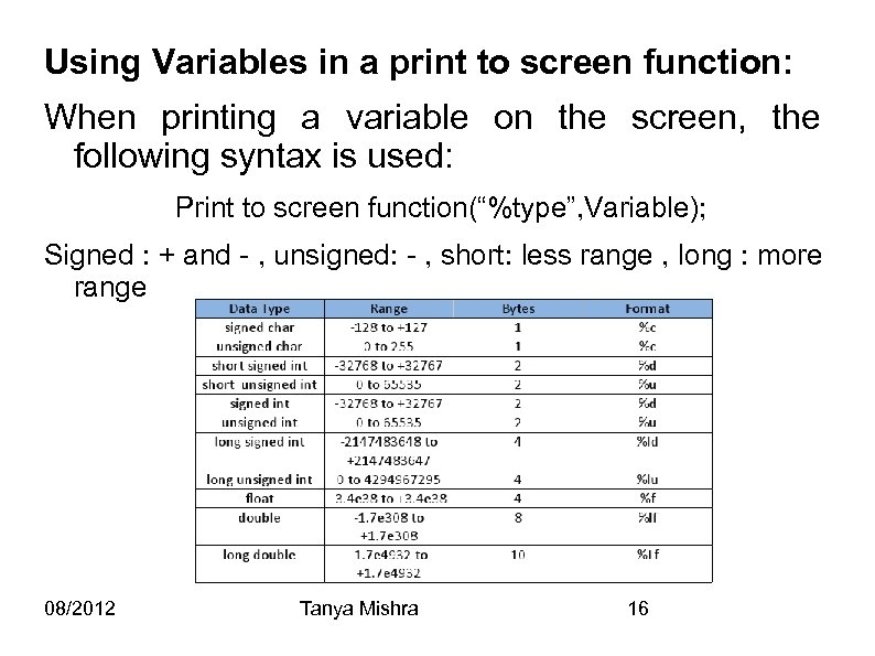 Using Variables in a print to screen function: When printing a variable on the