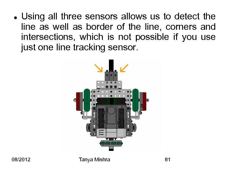 Using all three sensors allows us to detect the line as well as