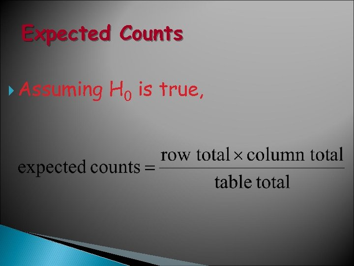 Expected Counts Assuming H 0 is true,