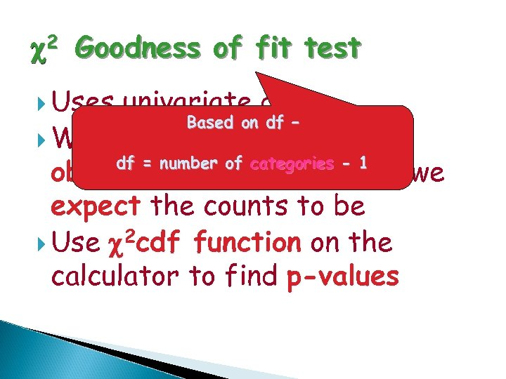 c 2 Goodness of fit test Uses univariate data Based on df – Want