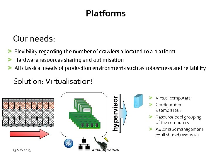 Platforms Our needs: > Flexibility regarding the number of crawlers allocated to a platform