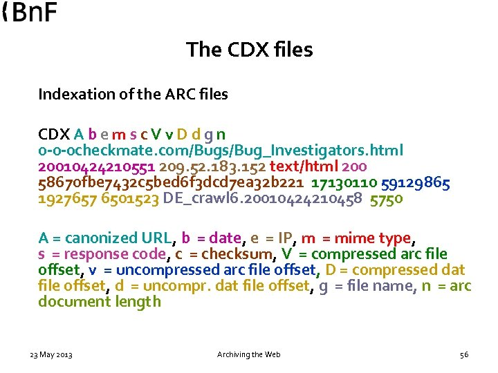 The CDX files Indexation of the ARC files CDX A b e m s