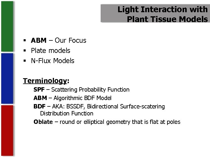 Light Interaction with Plant Tissue Models § ABM – Our Focus § Plate models
