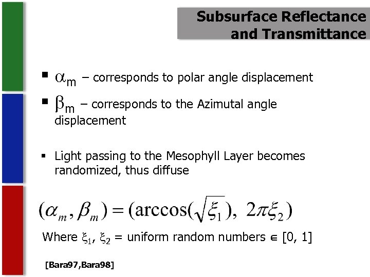 Subsurface Reflectance and Transmittance § m – corresponds to polar angle displacement § m