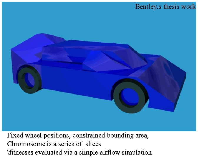 Bentley. s thesis work Fixed wheel positions, constrained bounding area, Chromosome is a series