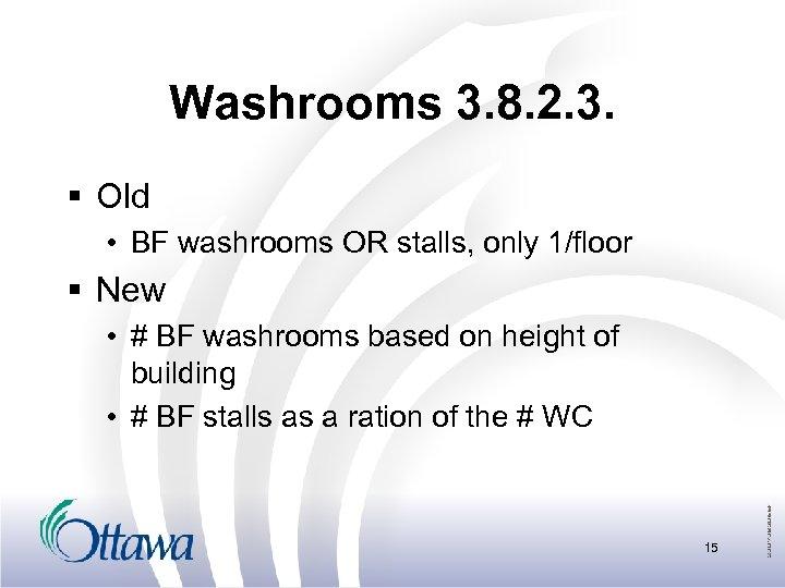 Washrooms 3. 8. 2. 3. § Old • BF washrooms OR stalls, only 1/floor