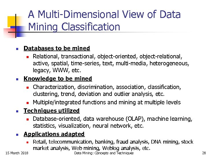 A Multi-Dimensional View of Data Mining Classification n n Databases to be mined n