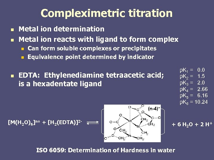 Compleximetric titration n n Metal ion determination Metal ion reacts with ligand to form