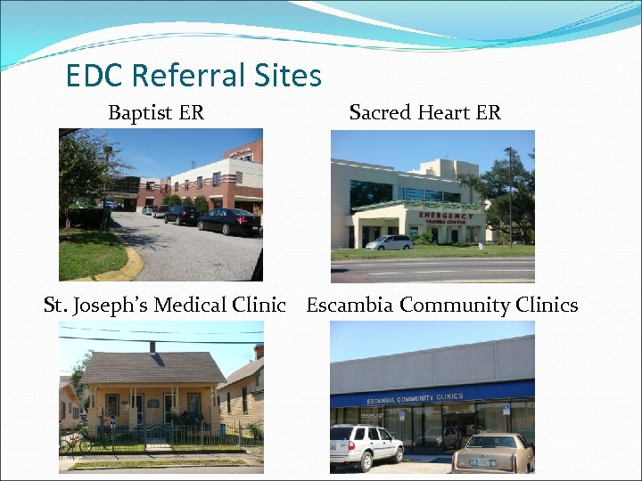 EDC Referral Sites Baptist ER Sacred Heart ER St. Joseph's Medical Clinic Escambia Community