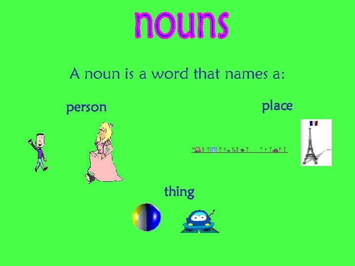 A noun is a word that names a: place person thing