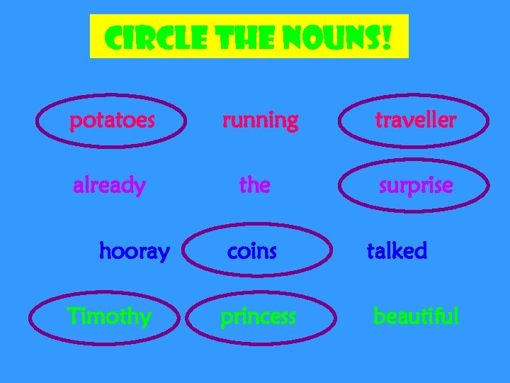Circle the nouns! potatoes running traveller already the surprise hooray Timothy coins princess talked