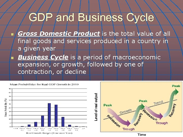 GDP and Business Cycle n n Gross Domestic Product is the total value of