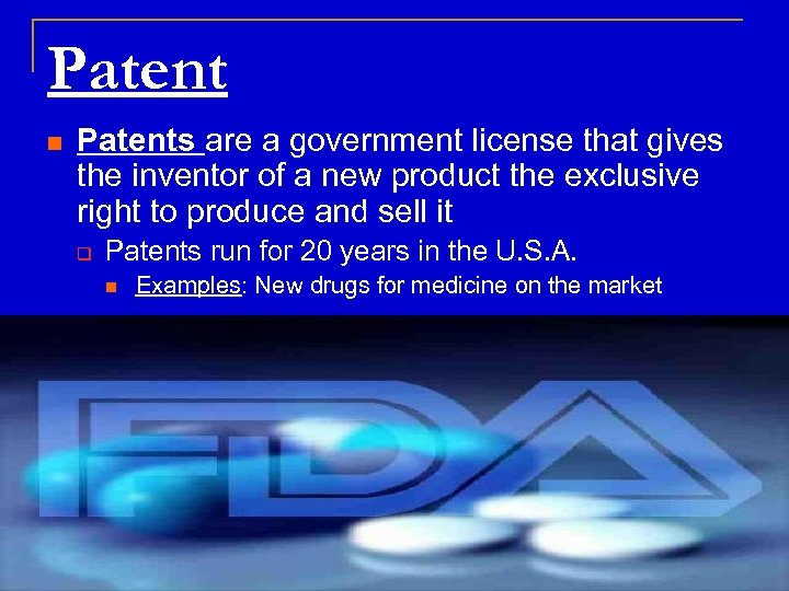 Patent n Patents are a government license that gives the inventor of a new
