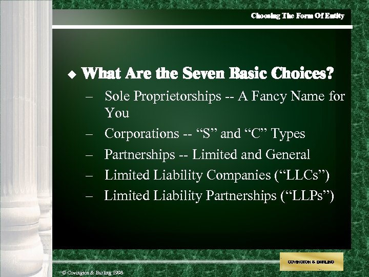 Choosing The Form Of Entity u What Are the Seven Basic Choices? – Sole