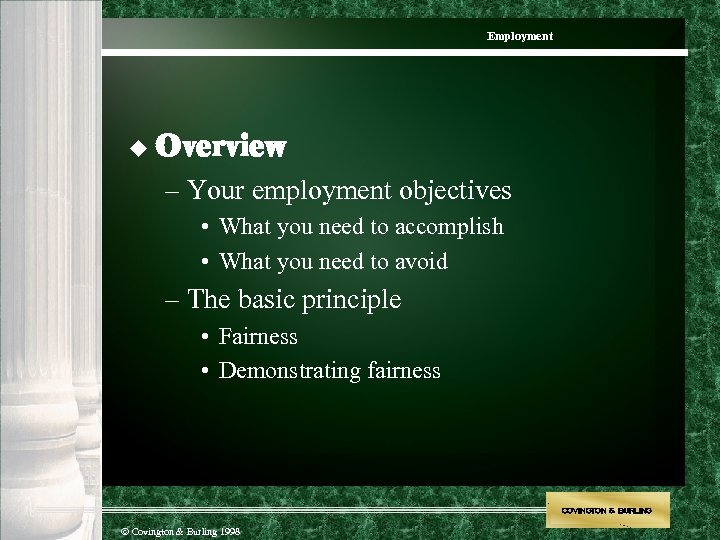 Employment u Overview – Your employment objectives • What you need to accomplish •