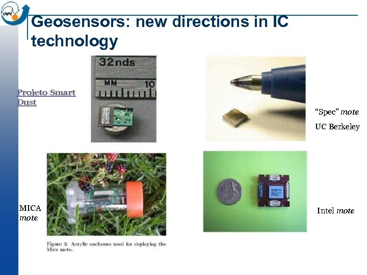 "Geosensors: new directions in IC technology Projeto Smart Dust ""Spec"" mote UC Berkeley MICA"