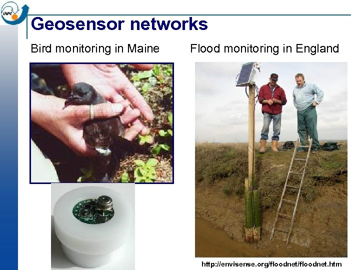 Geosensor networks Bird monitoring in Maine Flood monitoring in England http: //envisense. org/floodnet. htm
