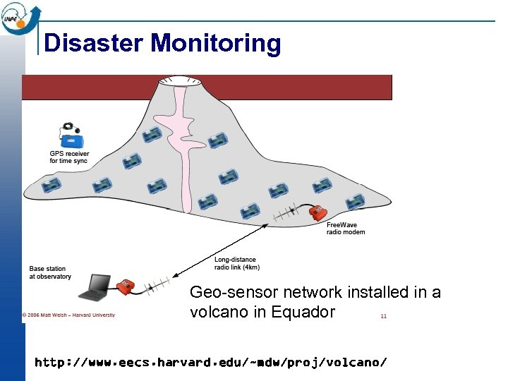 Disaster Monitoring Geo-sensor network installed in a volcano in Equador http: //www. eecs. harvard.