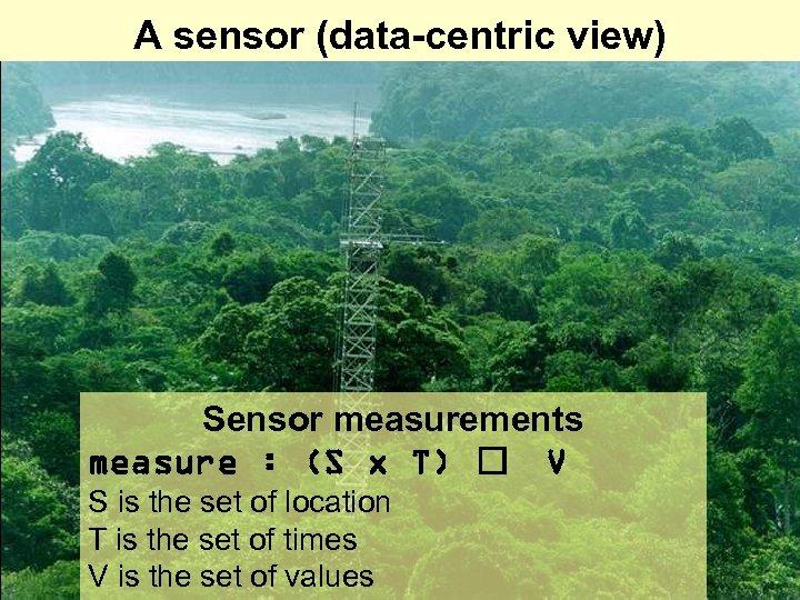A sensor (data-centric view) Sensor measurements measure : (S x T) V S is