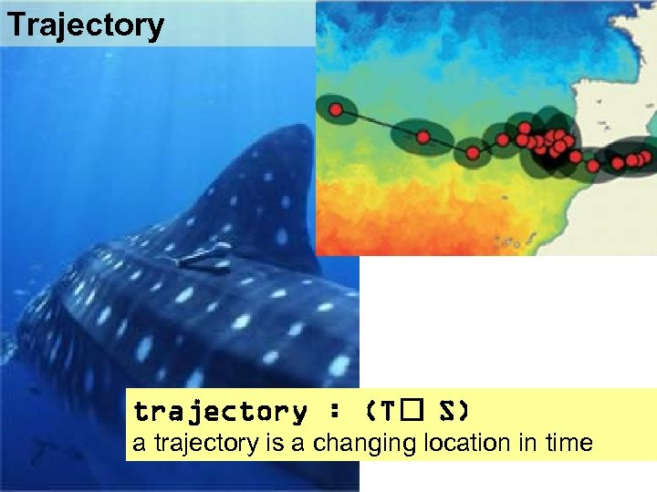 Trajectory trajectory : (T S) a trajectory is a changing location in time