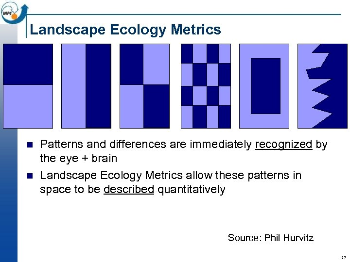 Landscape Ecology Metrics n n Patterns and differences are immediately recognized by the eye