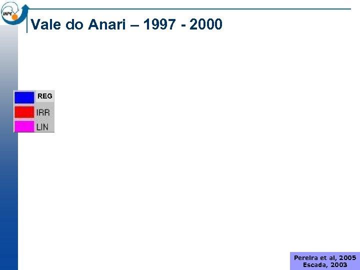 Vale do Anari – 1997 - 2000 REG Pereira et al, 2005 Escada, 2003