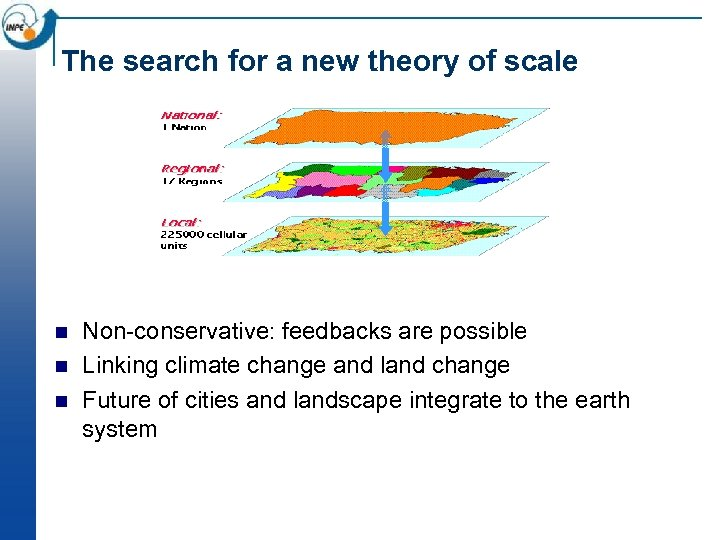 The search for a new theory of scale n n n Non-conservative: feedbacks are