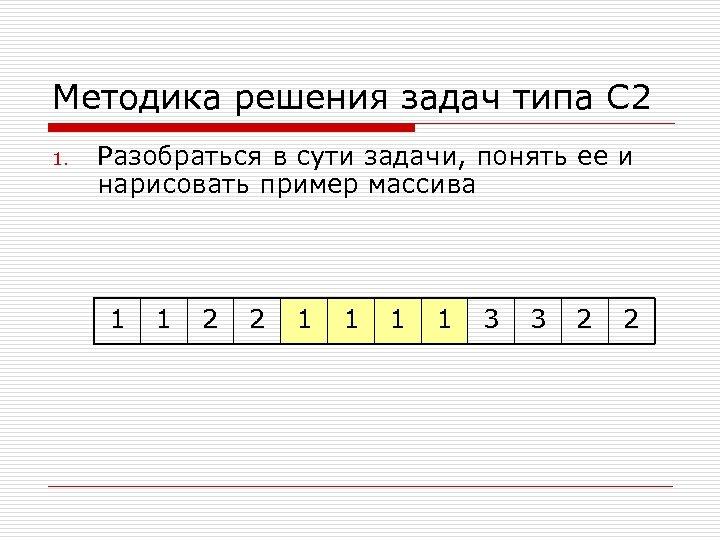Методика решения задач типа С 2 1. Разобраться в сути задачи, понять ее и