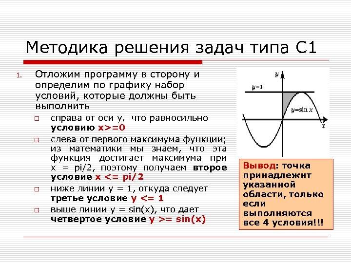 Методика решения задач типа С 1 1. Отложим программу в сторону и определим по
