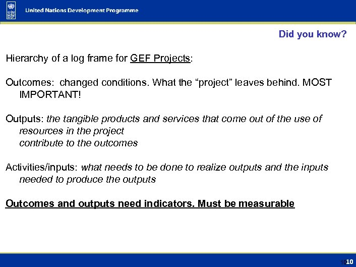 Did you know? Hierarchy of a log frame for GEF Projects: Outcomes: changed conditions.