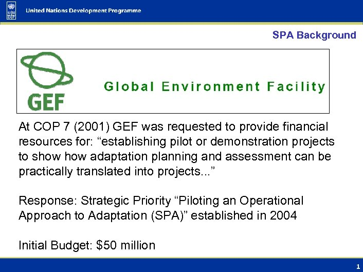 SPA Background At COP 7 (2001) GEF was requested to provide financial resources for:
