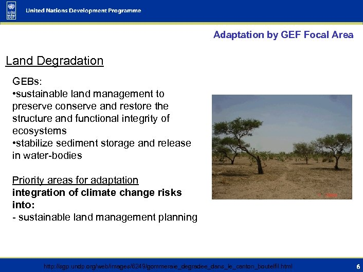 Adaptation by GEF Focal Area Land Degradation GEBs: • sustainable land management to preserve