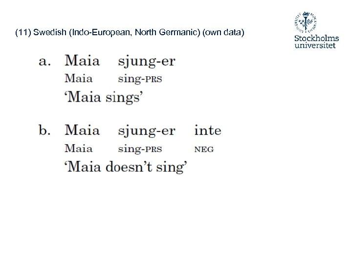 (11) Swedish (Indo-European, North Germanic) (own data)