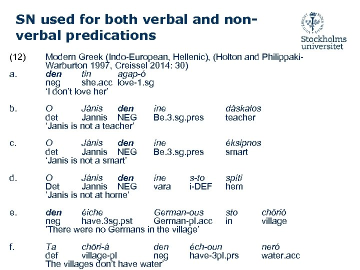 SN used for both verbal and nonverbal predications (12) a. Modern Greek (Indo-European, Hellenic),