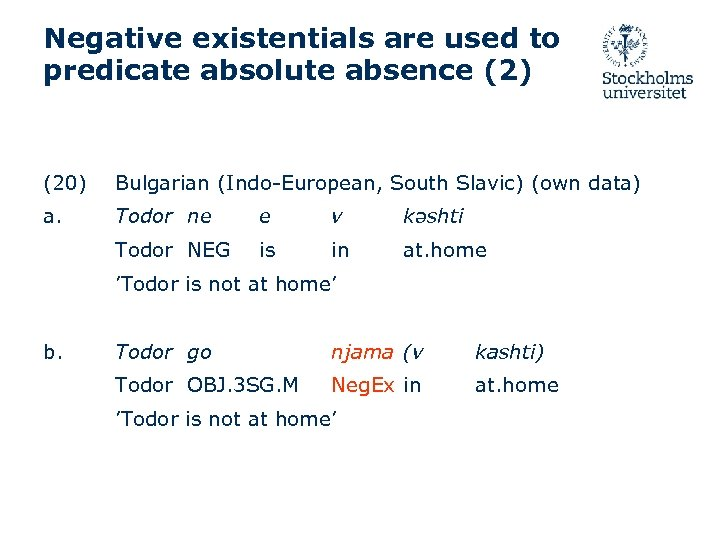 Negative existentials are used to predicate absolute absence (2) (20) Bulgarian (Indo-European, South Slavic)
