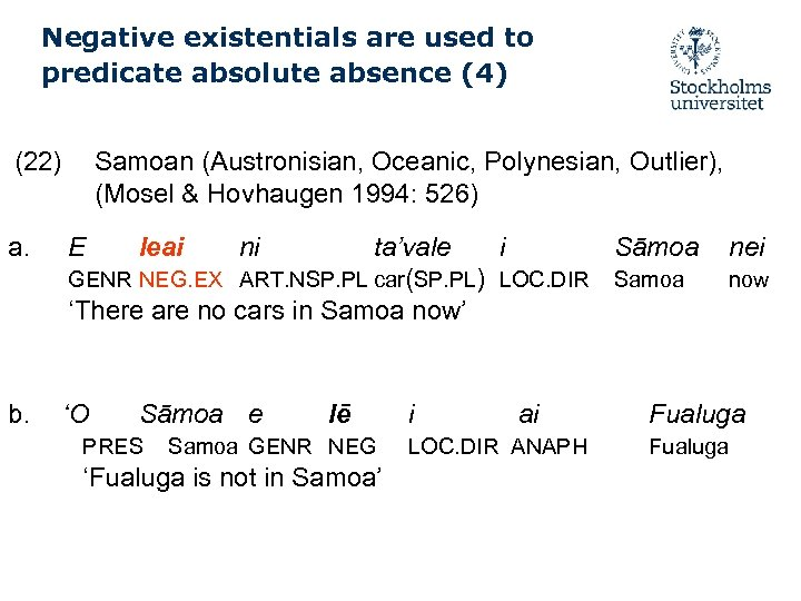 Negative existentials are used to predicate absolute absence (4) (22) a. b. Samoan (Austronisian,